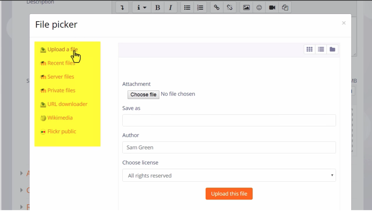moodle's file picker